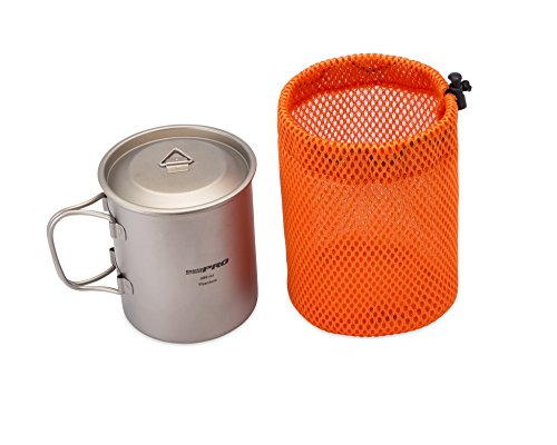 GearUp Outdoor Pro Cool Titanium Cup with Handle, Lid and Bag