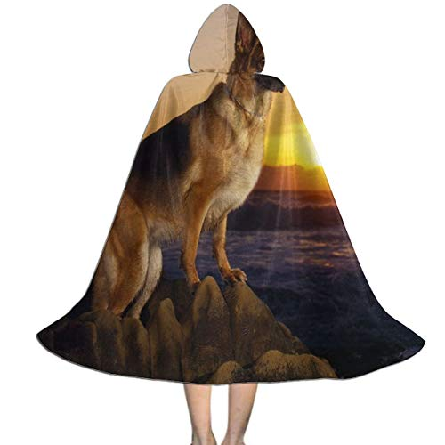 REDCAR Hooded Cloak Cape German Shepherd Dog Trendy Party Vampires Cosplay for Kids Girls Boys