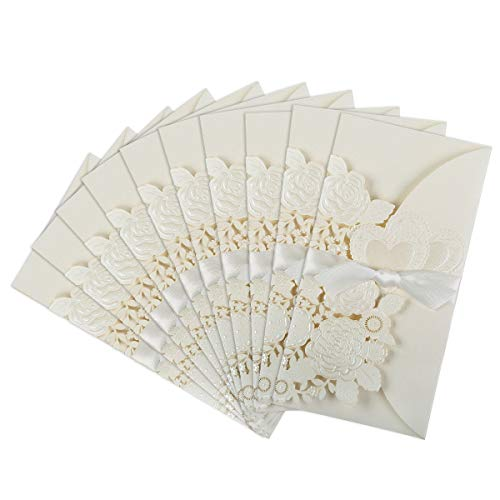 25-Pack Wedding Invitation Cards Laser Cut Floral Design Invitation Pockets with Ribbon for Bridal Showers, Engagement Parties, Includes Covers, Blank Inserts, Envelopes