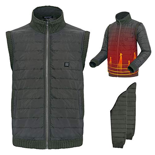 Cozihoma Electric Heated Jacket Sleeve Removeble Heated Vest Five Temperature Adjustable USB Charging Heating Clothing Warm Gilet with Laundry Bag for Winter Skiing Hiking Motorcycle Travel -M