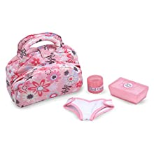 "Melissa & Doug Mine to Love Diaper Bag Set, Dolls & Dollhouses, Fabric Bag with Two Compartments, Self-Stick Cloth Diaper, 10.75"" H x 8.25"" W x 4.75"" L"