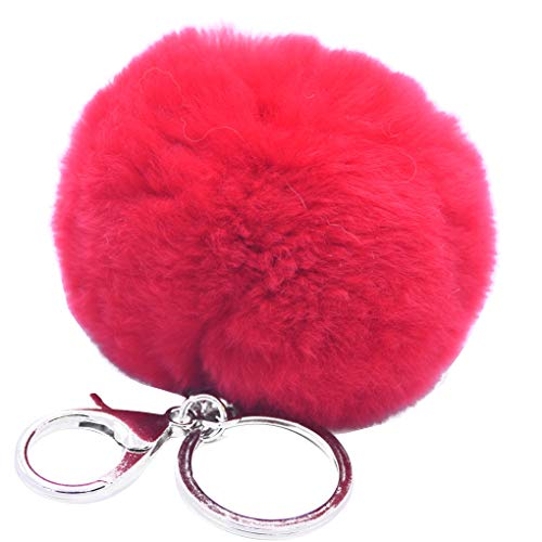 Lovely Soft 8cm Fluffy Ball Key Chains Car Key Rings Bag Pendant Decoration Fluffy Ball irene inevent ()