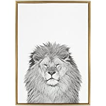 Kate and Laurel - Sylvie Lion Animal Print Black and White Portrait Framed Canvas Wall Art by Simon Te Tai, Gold 23x33