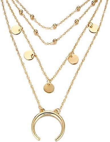 Ogquaton Collier multicouche Boh/ême ronde lune collier pendentif bijoux pour femmes couleur or cr/éatif et utile