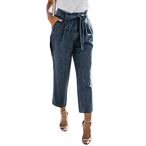 ANJUNIE Women Loose Hight Waisted Loose Tie Bow Bandage Hole Denim Jeans Wide Leg Stretch -