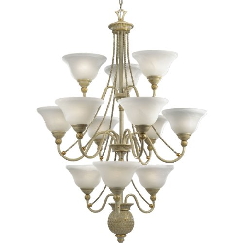 Progress Lighting P4122-42 12-Light Three-Tier Savannah Chandelier, Seabrook Savannah Collection Two Light