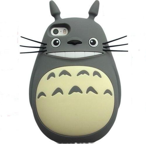 (My Neighbor TOTORO Gray Silicone Cases for Apple iPhone 5 5s 5c SE Back Covers Ultra Thick Shock Bump Drop Resistant 3D Cartoon Cute Lovely Gift for Kids Teen Girls Women)
