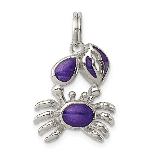 (925 Sterling Silver Purple Enameled Crab Pendant Charm Necklace Sea Life Lobster Fine Jewelry Gifts For Women For Her)