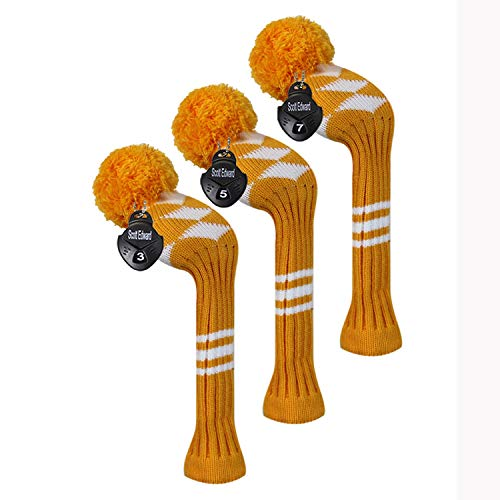 Scott Edward Golf Fairway Wood Club Head Covers, 3 Pieces Packed, White Argyle, Acrylic Yarn Double-Layers Knitted, with Rotatable Number Tags (Orange) - Wood Club Head