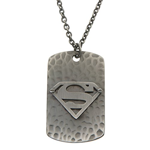 (DC Comics Men's Jewelry Superman Stainless Steel Dog Tag Pendant Necklace, 24