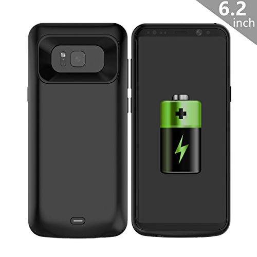 COOFUN Samsung Galaxy S8 Plus S8+ Charger Battery Case, 5500mAh Ultra Slim Rechargeable Portable External Backup Battery Pack-Charger Cover-Protective Case Power Bank Case (Black)