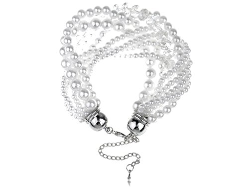 - Alilang Womens Adjustable Classy Elegant Tiffany White Wedding Pearl Bracelet