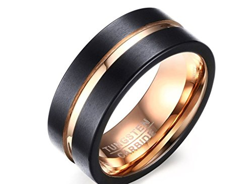 Daesar Stainless Steel Rings for Mens Black Beveled Edge Gold Plated Wedding Bands Size: 10