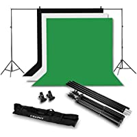 CRAPHY Photo Video Studio 10 x 6.5ft Background Stand Kit Photography Support System with Non-woven Backdrop (Green Black White, 9ft x 6ft) and Carry Bag