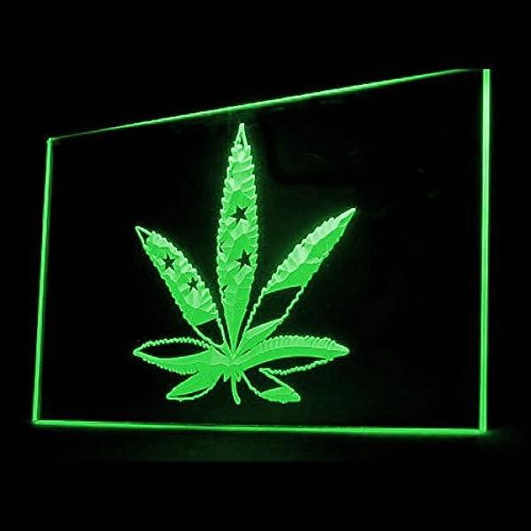 Amazon.com : 220027 Marijuana Hemp Leaf US Flag Lifestyle Display LED Light Neon Sign : Office Products