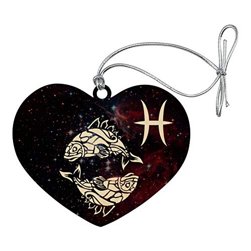 GRAPHICS & MORE Pisces Fish Zodiac Sign Horoscope in Space Heart Love Wood Christmas Tree Holiday Ornament