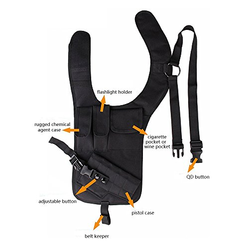 TEKCAM Tactical Underarm Shoulder Gun Holster Adjustable Concealed Armpit Pistol Holster with 5 Pouches for Outdoor Activities by TEKCAM (Image #2)