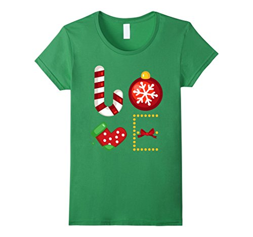 Womens Love Ornament Stocking Candy Cane T-shirt Christma...