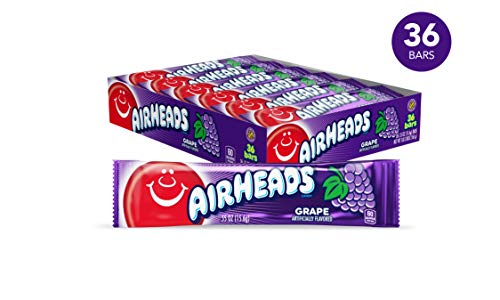 Airheads Candy, Individually Wrapped Bars, Grape, Non Melting, Party, 0.55 Ounce (Pack of 36)