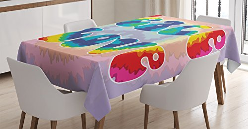 Ambesonne Groovy Tablecloth, Peace and Love Text in Tie Dye Effect Pattern Energetic Youthful Fun 60s 70s Hippie, Dining Room Kitchen Rectangular Table Cover, 52 W X 70 L Inches, Mauve Rainbow -