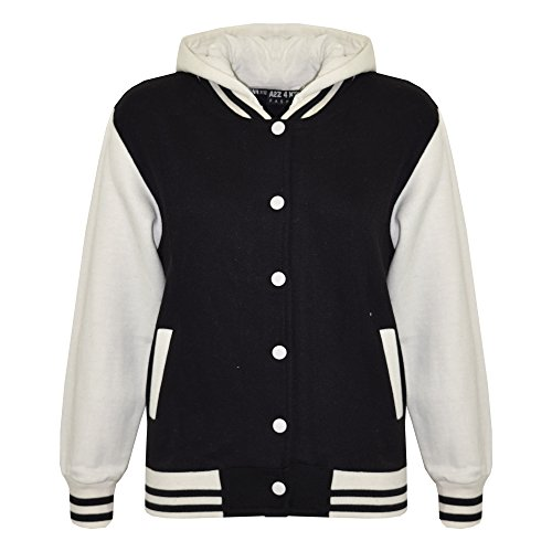 Kids Girls Boys Baseball Plain Hooded Jacket Stylish Varsity
