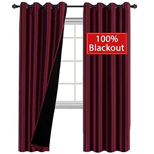 - H.VERSAILTEX Elegant Lined Full Blackout Curtain Draperies (2 Panels) - Faux Silk Thermal Insulated Solid Grommet Curtains with Liner Backing for Livingroom/Bedroom (52x84 Inch, Burgundy)