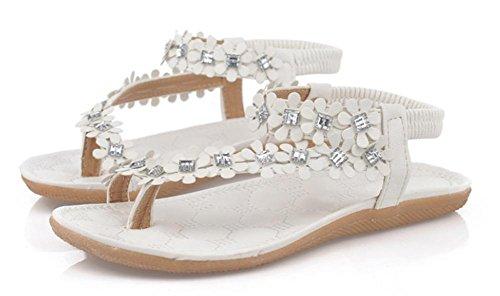 de de estudiantes sandalias sandalias White flip clip planas mujeres cable cómodas de zapatillas pie sandalias del cuentas florales y dedo v66x1ng