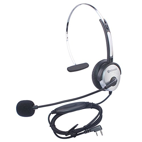 New Arama PTT MIC Headphone Headset w/ Adjustable Band for Baofeng UV-5R Kenwood Wouxun Radios