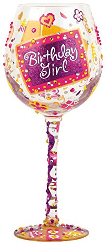"""Designs by Lolita """"Bling Birthday Girl"""" Hand-painted Artisan Super Bling Wine Glass, 22 oz. (Hand Decorated Wine Glasses)"""