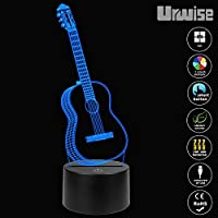 Urwise GUITAR 3D Illusion Lamp Music Decorations Lamp,7 Colors Changing,Smart Touch Button USB Powered,Music Lovers Gifts And Guitar Party Decor ZB-3272 from Urwise