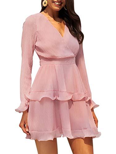 - Fashiomo Women's Chiffon V Neck Ruffle Mini Dress Wrap Tie Waist Party Dress Pink,L