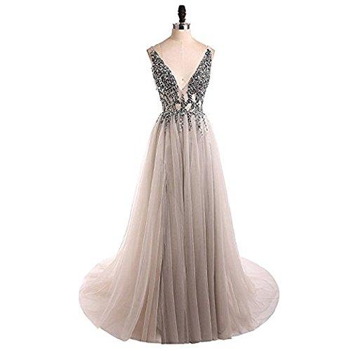 V Gray Brautjungfernkleider Ausschnitt Tüll Cocktail Ballkleider Bainjinbai Lang Damen Abendkleider txZqwzwBHn
