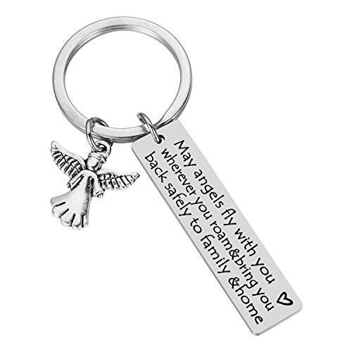 Long Distance Farewell Going Away Leaving Gifts Keychain - May Angels Fly with You Wherever You Roam & Bring You Back Safely to Family & Home