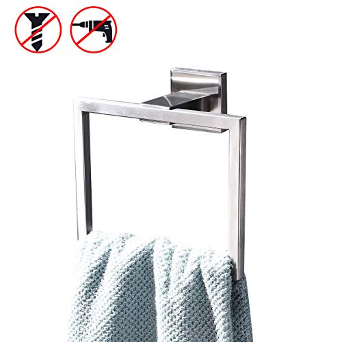 (KES SUS 304 Stainless Steel Bath Towel Holder Hand Towel Ring Hanging Towel Hanger Bathroom Accessories Contemporary Hotel Square Style Wall Mount, Brushed Finish, A2480-2)