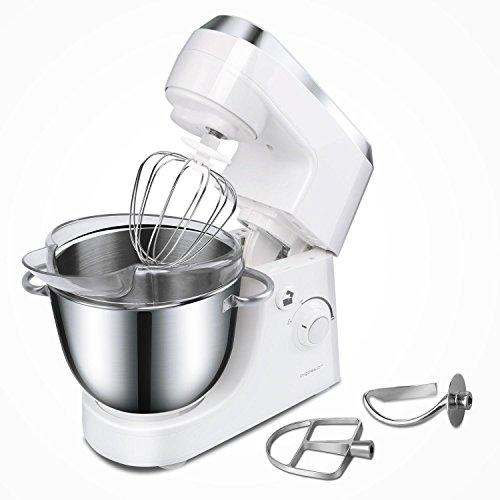 Aigostar Piccolo Mamma White 30HMA - Robot de cuisine: blender, pétrisseur, batteur. 350W et bol en acier inoxydable de 4,2 litres. Comprend 3 accessoires pour pétrir, battre et mélanger.