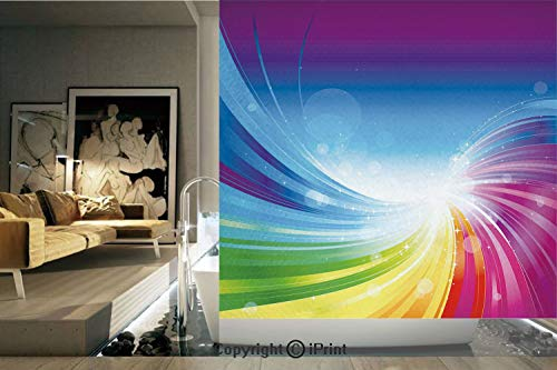 Ylljy00 Decorative Privacy Window Film/Funky Pop Art Stylized Radiant Lines in Wave Like Color Reflections Image/No-Glue Self Static Cling for Home Bedroom Bathroom Kitchen Office Decor Multi