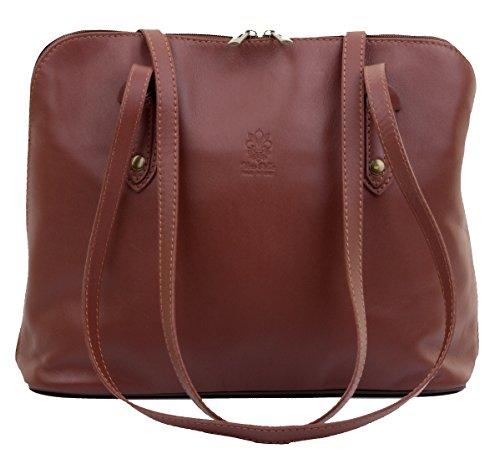 Primo Sacchi Italian Soft Brown Leather Large Long Handled Shoulder Bag Handbag, Includes a Branded Protective Storage Bag