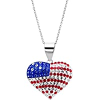 Crystaluxe American Flag Puffed Heart Pendant With Swarovski Crystals