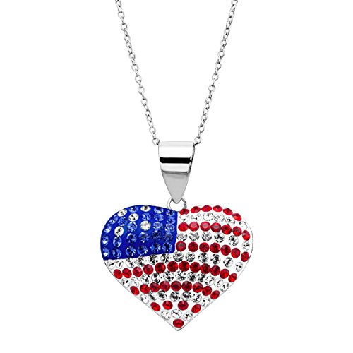 Plated Heart Puffed (Crystaluxe American Flag Puffed Heart Pendant Necklace with Swarovski Crystals in Rhodium-Plated Sterling Silver)