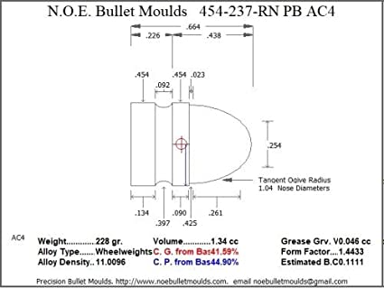 Amazon.com : Bullet Mold 2 Cavity Br .454 Caliber Plain ... on