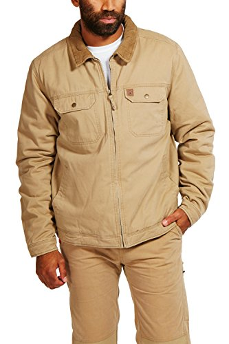 Coleman Cotton Twill Jacket With Corduroy Collar (Large, Driftwood) by Coleman