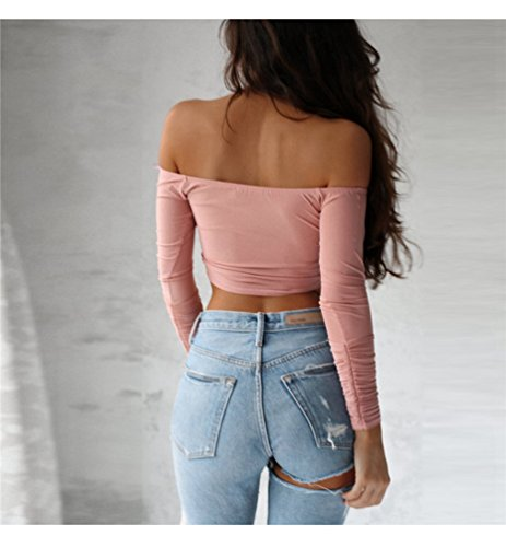 Fit Donna Pieghe Cris Shirt Rosa T Slim Senza Crop Cross Manica a Lunga Spalline Top Jitong Camicie YFwqdxY