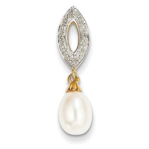 Brut 14 carats avec diamant et perle de culture ovale pendentif-JewelryWeb
