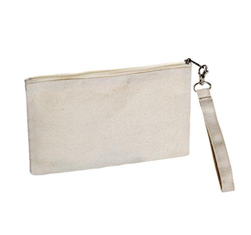 Large Canvas Wristlet 6x9, Natural Color, 100% Cotton Canvas - Pack of 12