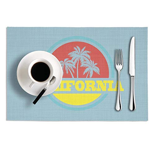 Graphic Vintage Cali Beach Palm Tree PVC Heat-Resistand Placemats Anti-Skid Stain Resistant Dining Table Mats for Kitchen Table Set Of 2 (New Jersey School Of Medicine And Dentistry)