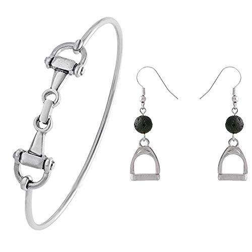 SENFAI Horse Snaffle Bit Hook Clasp Charm Bracelet Bangle Jewelry (Antique Silver Bracelet + Earring, Rhodium-Plated-Base-Metal)