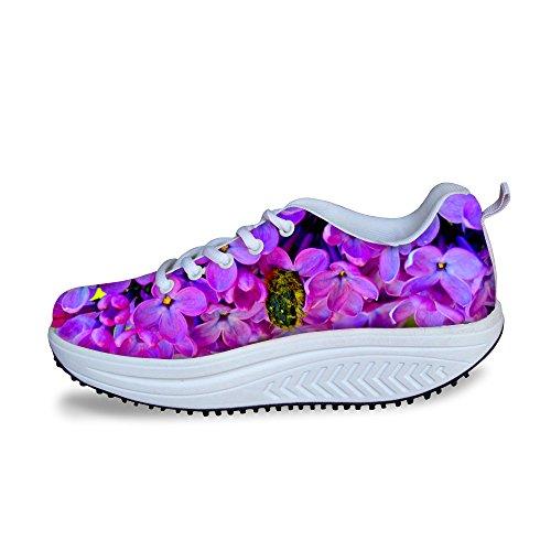 Pour U Conceptions Vintage Imprimé Floral Fitness Espadrille De Marche Casual Wedges Femmes Plate-forme Chaussures Floral Violet-5
