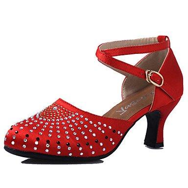 Bajo No Zapatos Azul dark baile Jazz Negro Latino Tacón Personalizables Claqué Salsa brown Marrón Rojo de Moderno 66RABnS
