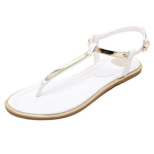 Highdas Damen Flach Zehentrenner Sandalen Peep Toe Kreuzgurt Coole Elegant Mode Strand Sommer Weiß