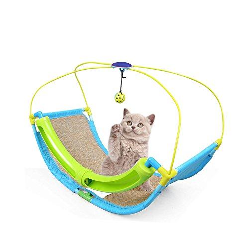Pet Bed Cradle (Wellucky Multifunctional Cat Rocking Roller Cradle Toy Kitten Hammock Window Bed Pet Sofa with Ball)